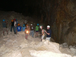 We made our way through the cave on what was once the cave's ceiling.  Huge limestone chunks form a 130' thick floor.